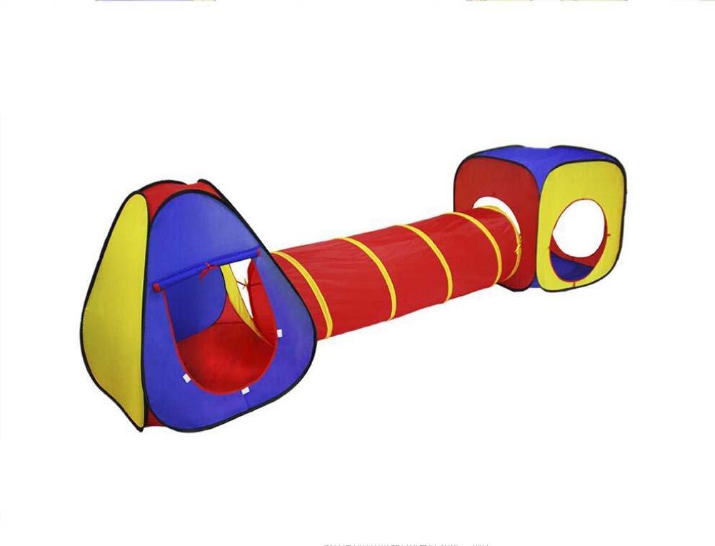 Faltendes Spielzeugzelt Kinder Zelt Tunnel Indoor Spielhaus Outdoor rot gelb blau Spiel Schloss DREI-in-One-Spiel Haus Geschenk bevorzugt
