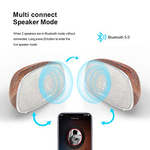 [Updated ] 12-Hours Time Bluetooth Speaker with Microphone Wood Grain Retro Classic Dual Alarm Snooze Stereo HiFi Portable Muilti-Function FM Clocks Radios, 10W Smart Home TWS Wireless Speakers