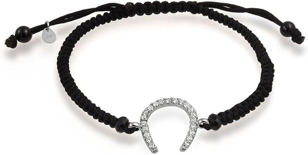 Bling Jewelry Buena Suerte Herradura Cordón Negro Caballo Pulsera para Mujer Regalo De Graduación Zirconio Cúbico CZ Allanar 925