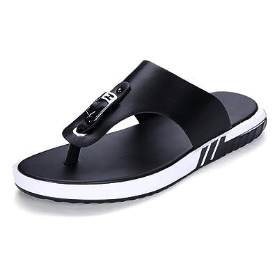 Ruanyi Thong Flip Flops Schuhe, Rutschfeste Weiche Flache Sandalen Schwarz Lässig Aus Echtem Leder Strand Hausschuhe für Männer (Farbe : Black, Size : 40 EU)