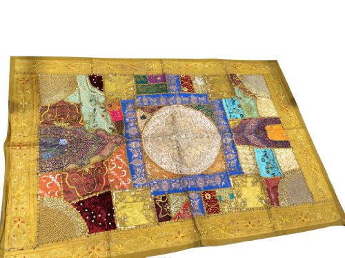 Indian Sari Tapestry Khaki Yellow Sequin Mirror Embroidered Wall Hanging Decor