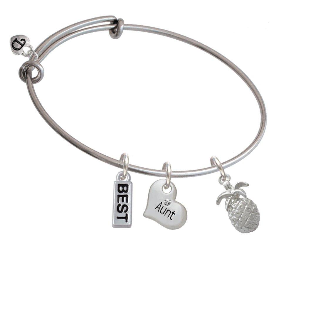 Silvertone Pineapple Family Heart Best Expandable Bangle Bracelet