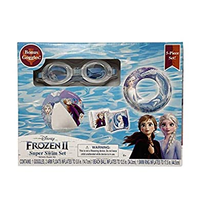 Frozen 2 Pool Inflatables for Kids 5 Piece Set with Free Lanyard, Kids Floaties for Pool, Pool Accessories for Kids, Inflatable Pool Toys for Kids, Floaties for Toddlers, Arm Floaties: Toys & Games