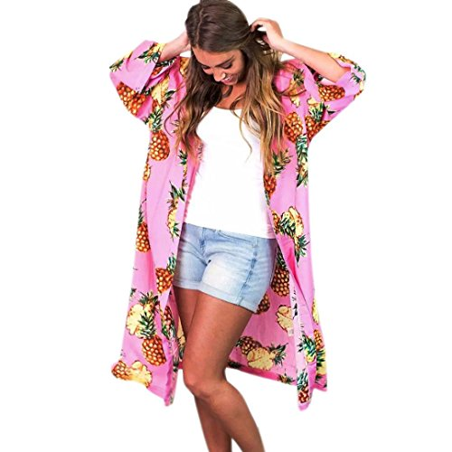 Drape Kimono Off Shoulder - G-real Women Boho Tropical Pineapple Printed Long Shawl Kimono Cardigan Front Open Blouse Tops Beach Outwear (Pink, M)