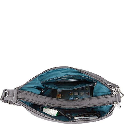 Theft Double Anti Medium Welted Dark Crossbody Zip Pewter Emerald Interior Travelon qU15Cw