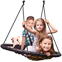 Sorbus Spinner Swing - Kids Indoor/Outdoor Round Web Swing - Great for Tree, Swing Set, Backyard, Playground, Playroom - Accessories Included
