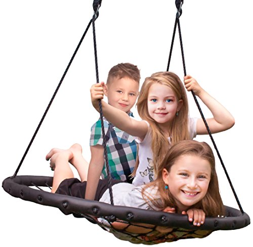 Sorbus Spinner Swing – Kids Indoor/Outdoor Round Web Swing – Great for Tree, Swing Set, Backyard, Playground, Playroom – Accessories Included (40' Net Seat)