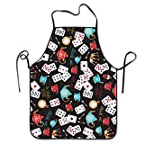 LFTRIS Adjustable Bib Aprons Funny Poker Personalized Comfortable BBQ Grill Barbecue Home Apron Intended For Family Woman Man Chef