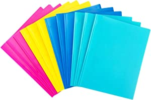 MAKHISTORY Plastic Folders with Pockets and Prongs - 12 Pack, Includes Business Card Slot, Fresh Colors for Letter Size Paper