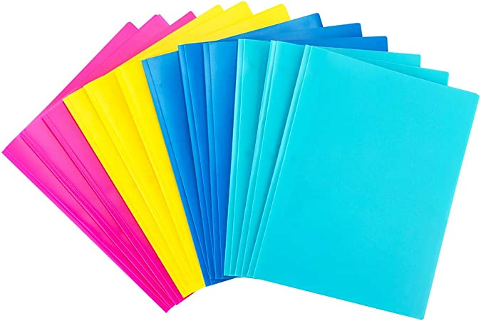 Pockets Folders with Stay-Put Tabs and Business Card Slot 16 Pack INFUN Plastic Folders with Clear Front Pocket 4 Assorted Colors Plastic Folders with 2 Pockets and 3 Hole