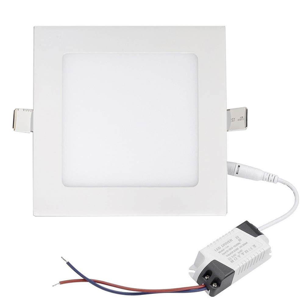 Aolyty 15W Ultra Thin LED Ceiling Panel Light 7'' Recessed Square Downlight for Home, Office, Mall, Low Energy Consumption Non Dimmable 3000K