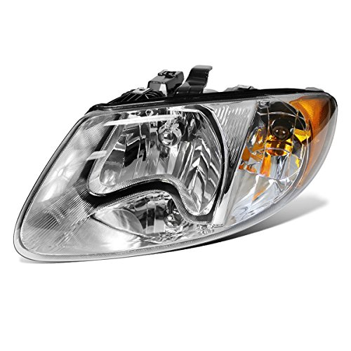 Partsam Driver Side Left LH Hand Halogen Headlight Head Lamp Assembly CH2502129 4857701AC 114-00656L Chrome Housing for 2001-2007 Dodge Caravan Chrysler Town & Country 2001-2003 Voyager