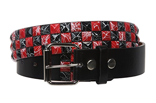 MONIQUE Women Red Black Checkerboard Studded Snap On Roller Buckle 1.5'' Belt,Red/Black Small (30-32)