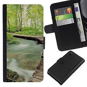 Misty Forrest - la tarjeta de Crédito Slots PU Funda de cuero Monedero caso cubierta de piel Para Sony Xperia Z3 D6603