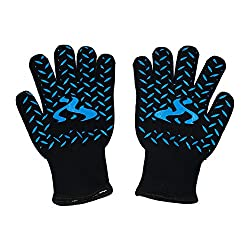 Oven Mitts Bbq Cooking Gloves- High Heat Resistance Home & Gardens Grilling Barbecue Oven Glove- (One Pair) (Blue)