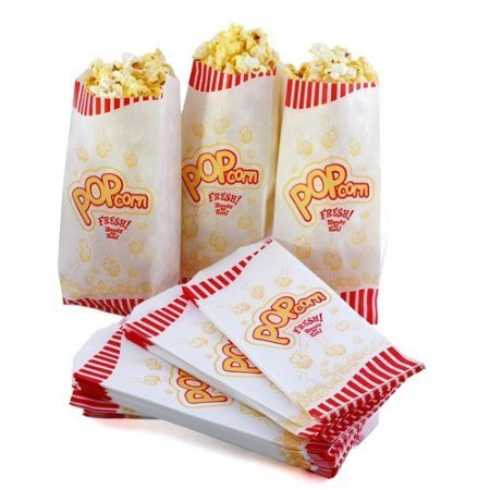 Great Northern Popcorn Case of 100 Premium Quality 1 Ounce (Oz) Popcorn Theater Style Bags Paper