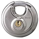 #2: Master Lock Padlock, Stainless Steel Discus Lock, 2-3/4 in. Wide, 40DPF