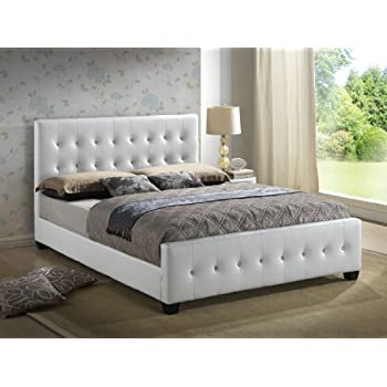 High Quality White   Queen Size   Modern Headboard Tufted Leather Look Upholstered Bed