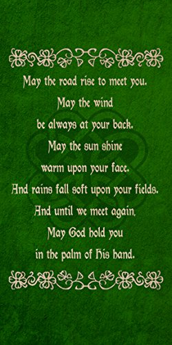Plywood Wood Print Poster Wall Art - Irish Blessing Prayer May The Road Rise Up Green Celtic Knot