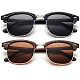 Newbee Fashion - Polarized Classic Vintage Clubmaster Style Comfortable Semi-Rimless Two Tone Wood Colored Fashion Sunglasses