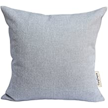 """TangDepot Heavy Lined Linen Cushion Cover, Throw Pillow Cover, Square Decorative Pillow Covers, Indoor/Outdoor Pillows Shells - (22""""x22"""", Silver)"""