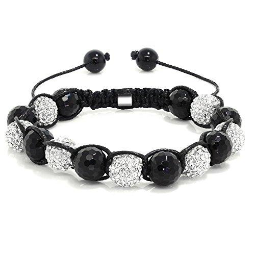 Gem Stone King Iced White 10mm Crystal Ball Adjustable Bling Bracelet + Gift Box