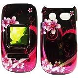 For ATT Pantech Breeze III P2030 Accessory - Purple Heart Flower Design Hard Case Cover + Lf Stylus Pen