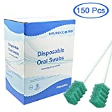 MUNKCARE Disposable Dentifrice Treated Oral Care Sponge Swabs, Individual Wrapped 150 Counts (Dark Green)