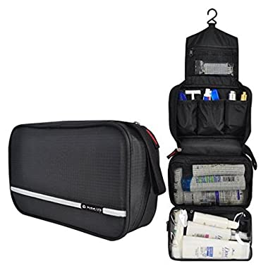 Pockettrip Hanging Toiletry Kit Clear Travel BAG Cosmetic Carry Case Toiletry (Black)