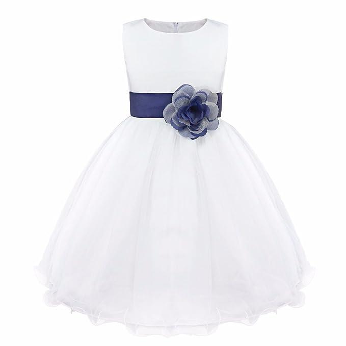iEFiEL Vestido Blanco de Princesa Fiestas Boda para Niñas Vestidos Elegantes de Noche Azul Oscuro 10