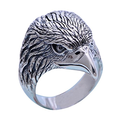 Vintage Black 925 Sterling Silver Eagle Head Ring Jewelry for Men Boys Size 11