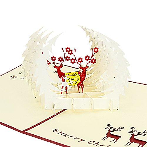 Cute Halloween Greetings (Jerry & Maggie - Pop Up Greeting Card - Cute Deer Snow Flake Wonderland 3D Paper Greeting Thank You Card Handmade Envelope for kids men women   Christmas Eve Halloween Thanksgiving Birthday)