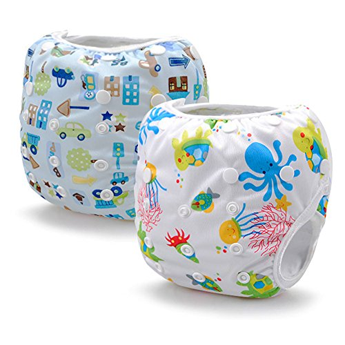 (Reusable Swim Diapers Washable Swim Nappies with Adjustable Snaps for Baby Shower Gifts & Swimming Lessons 2 Packs)