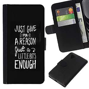 Supergiant (Motivational Black White Text Reason) Dibujo PU billetera de cuero Funda Case Caso de la piel de la bolsa protectora Para LG Nexus 5 D820 D821