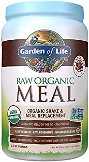 Garden of Life Meal Replacement Chocolate Powder, 28 Servings, Organic Raw Plant Based Protein Powder, Vegan,