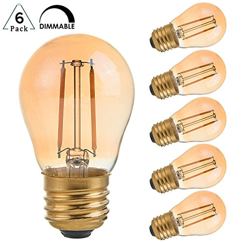 Incandescent Chandelier Amber (2 Watt Vintage Edison LED Bulbs, Panledo Globe LED Filament Bulb, 2200K Ultra Warm White, E26 Base, A15 Amber Glass Antique Gold Tint, 25W Incandescent Replacement, Dimmable, Pack of 6)