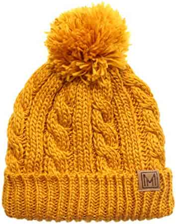 f5561d428ae99 MIRMARU Winter Oversized Cable Knitted Pom Pom Beanie Hat with Fleece  Lining.