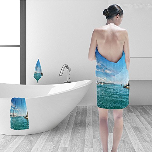Price comparison product image Nalahomeqq Bath towel set Lighthouse Decor Bright Day the Seaside Sailboats Lighthouse Rocks Clear Sea Clouds Island Seascape Bathroom Accessories Multi