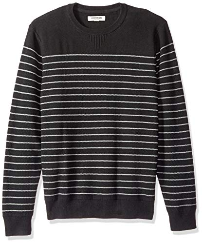 Lightweight Striped Sweater - Goodthreads Men's Soft Cotton Striped Crewneck Sweater, Black/Heather Grey, Medium