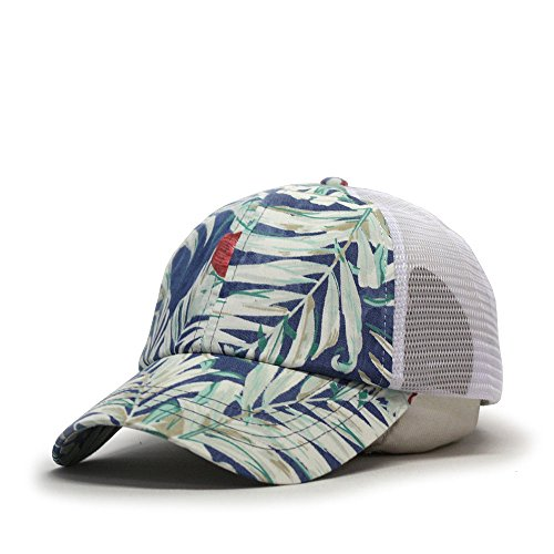 ian Cotton Twill Adjustable Snapback Baseball Caps (Floral/Floral/White Mesh) ()