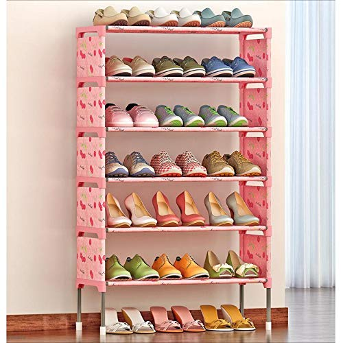 SHELFDQ Non-Woven Shoes Rack Shoe Cabinets Stand Shelf Shoes Organizer Living Room Bedroom Storage (Color : Lucky Cherry)
