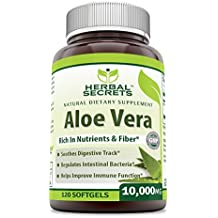 Herbal Secrets Aloe Vera 10000 Mg, 120 Softgels - New Improved Formula With Extra Virgin Olive Oil, Easier To Take Than Juice, Drink And Gel Products