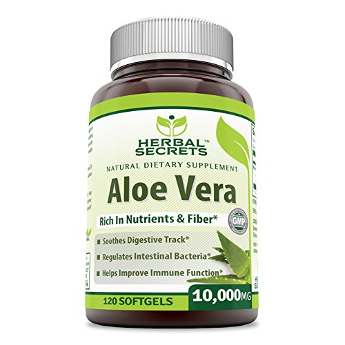 Herbal Secrets Aloe Vera 10000 Mg, 120 Softgels - New Improved Formula With Extra Virgin Olive Oil, Easier To Take Than Juice, Drink And Gel - Gel Capsules Vera Aloe