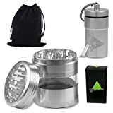 Cool Weed Crusher Set for Herbs, Pot, Spice, and Tobacco: Large, 4pc, 3.25 inches Tall, Metal Grinder with Kief Catcher and Airtight Container, Smell Proof ,Silver by Green-Der