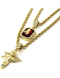 Mens Gold Angel & P Ruby Bundle Set Cz Pendant Hip Hop...