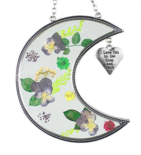 I Love You to The Moon and Back Suncatcher with Real Pressed Flowers