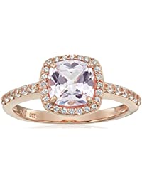 Rose Gold Plated Sterling Silver Cushion Cut Created Pink Sapphire 7mm and Round Created White Sapphire Halo Ring, Size 7