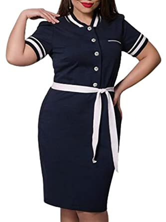 Hot Plus Size Belted Bodycon Work Polo Shirts Dress Summer at Amazon ...