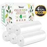 4 Gallon 200 Counts Strong Trash Bags Garbage Bags, Bin Liners, for home office kitchen, Clear