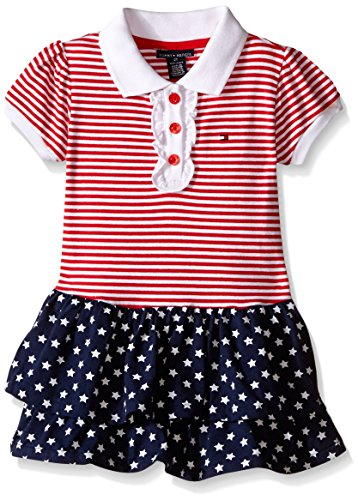 Tommy Hilfiger Baby-Girls Yarn Dyed and Printed Jersey Spandex Dress, Red, 0-3 Months